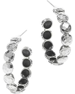 Women's Palu Silver Disc Small Hoop Earrings