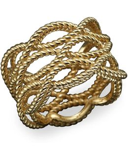 18k Yellow Gold Triple Row Twisted Ring