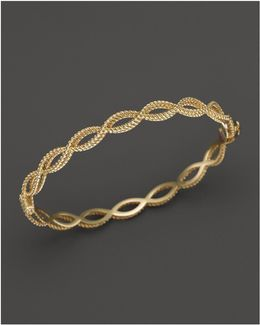 18k Yellow Gold Single Row Twisted Bangle