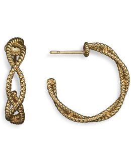 18k Yellow Gold Twisted Hoop Earrings