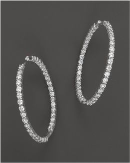 18k White Gold Large Diamond Inside Out Hoop Earrings