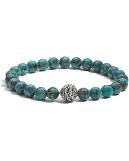 Men's Sterling Silver Classic Chain Large Beaded Bracelet With Turquoise