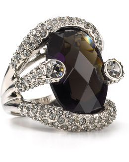 Women's Large Stone Pave Ring