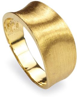 18k Yellow Gold Engraved Lunaria Small Band Ring