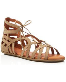 Oak Metallic Flat Sandals