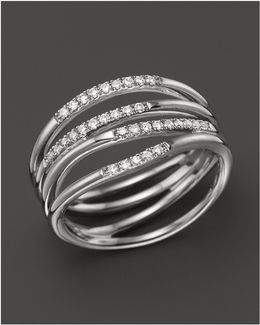 14k White Gold Wisp Ring With Diamonds