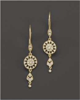 14k Yellow Gold Antique Drop Earrings With Diamonds