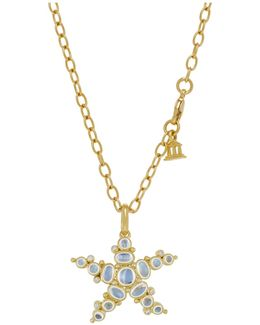 18k Yellow Gold Medium Sea Star Pendant With Royal Blue Moonstone And Diamonds