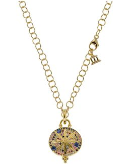 18k Yellow Gold Sorcerer Pendant With Mixed Sapphires