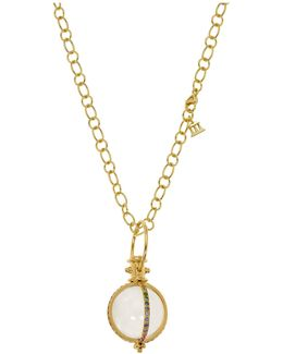 18k Yellow Gold Classic Amulet With Rock Crystal And Mixed Pavé Sapphires