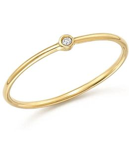 14k Yellow Gold Thin Ring With Diamond