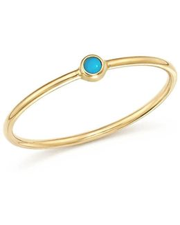 14k Yellow Gold Thin Ring With Turquoise