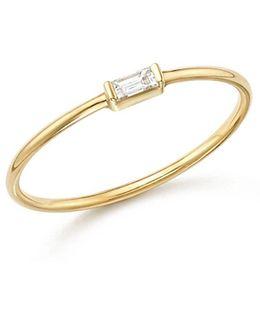 14k Yellow Gold Diamond Baguette Ring