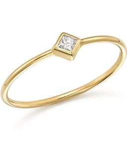 14k Yellow Gold Bezel Ring With Diamonds