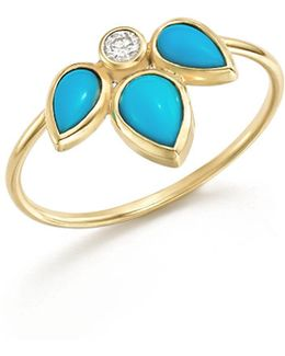 14k Yellow Gold Ring With Turquoise And Diamond