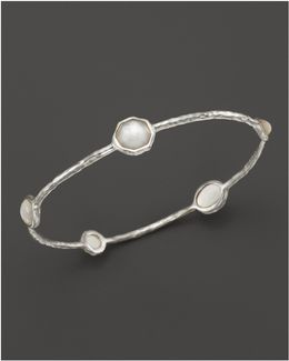 Sterling Silver Wonderland 5-stone Bangle In Mother-of-pearl