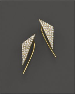 14k Yellow Gold Diamond Triangle Ear Cuffs