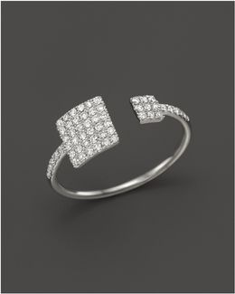 14k White Gold Open Square Ring With Diamonds
