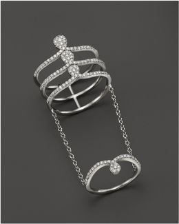 14k White Gold Midi Chain Ring With Diamonds