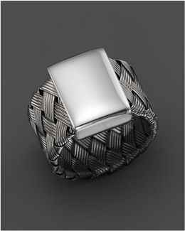 Ruthenium Plated Sterling Silver Woven Ring