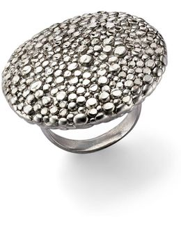 Sterling Silver Stingray Round Disc Ring