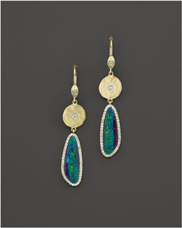 14k Yellow Gold Opal Elongated Earrings