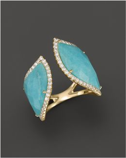 14k Yellow Gold Amazonite Double Open Curve Ring