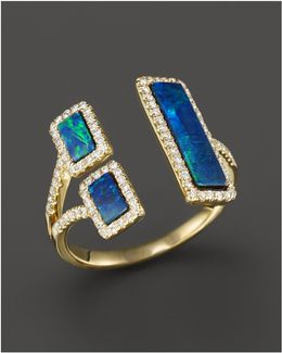 Yellow Gold Opal Double Bar Open Ring