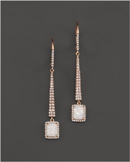 14k Rose Gold Druzy Elongated Earrings With Diamonds