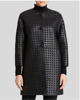 Coat - Houndstooth Cutout Leather