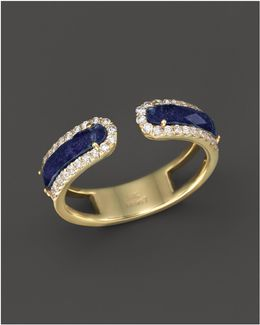 14k Yellow Gold Lapis Ring With Diamonds