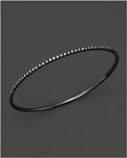 Diamond Bangle In Black Rhodium Plated 14k White Gold