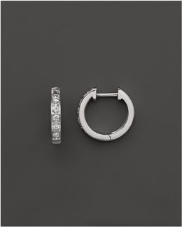 Diamond Mini Hoops In 14k White Gold