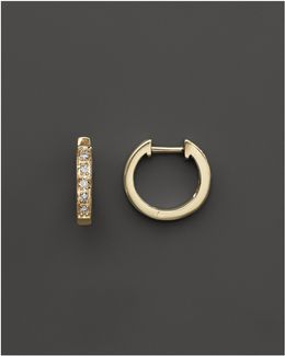 Diamond Mini Hoops In 14k Yellow Gold