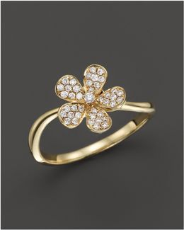 Small Diamond Flower Ring In 14k Yellow Gold