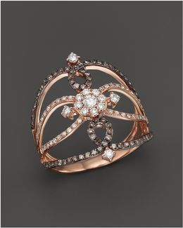 Champagne And White Diamond Ring In 14k Rose Gold