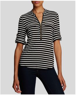Striped Zip Front Roll Sleeve Knit Blouse
