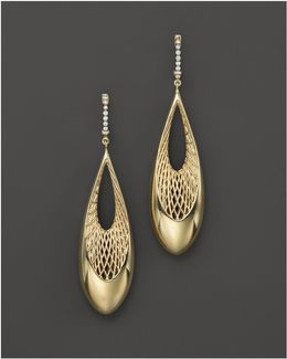 18k Yellow And White Gold Diamond Teardrop Golden Gate Earrings
