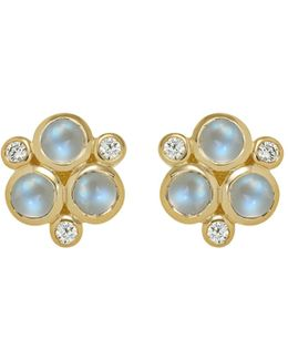 Classic Trio Earrings With Royal Blue Moonstone And Diamonds In 18k Yellow Gold