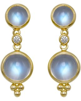 Double Drop Earrings With Royal Blue Moonstone And Diamonds In 18k Yellow Gold