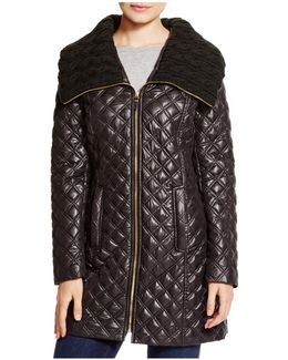 Quilted Coat With Cable-knit Collar