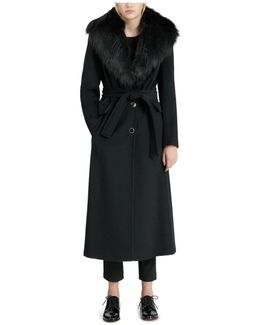 Wrap Coat With Faux-fur Trim