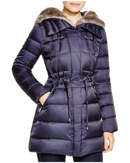 Drawstring Quilted Coat With Faux-fur Trim