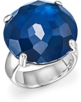 Sterling Silver Rock Candy® Large Round Stone Ring In Midnight Doublet