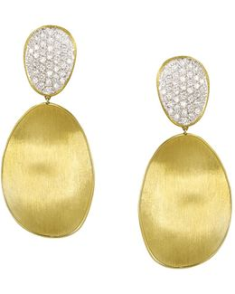 Diamond Lunaria Two Drop Large Earrings In 18k Gold
