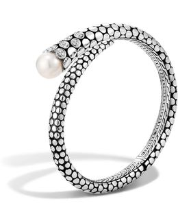 Dot Sterling Silver Diamond Pave Kick Cuff With Cultured Freshwater Pearls