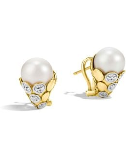 Dot 18k Yellow Gold Diamond Pavé Earrings With Cultured Freshwater Pearls