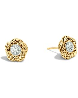 Classic Chain 18k Gold Diamond Pavé Small Stud Earrings