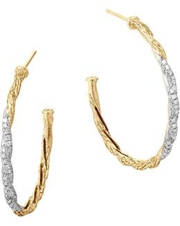 Classic Chain 18k Gold Diamond Pavé Medium Hoop Earrings