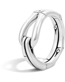 Bamboo Silver Hook Ring